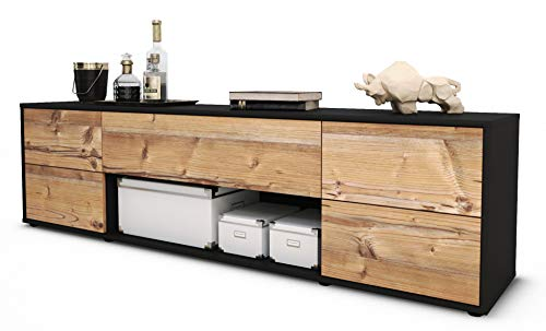 Stil.Zeit TV Schrank Lowboard Babetta, Korpus in anthrazit matt/Front im Holz-Design Pinie (180x49x35cm), mit Push-to-Open Technik und hochwertigen Leichtlaufschienen, Made in Germany