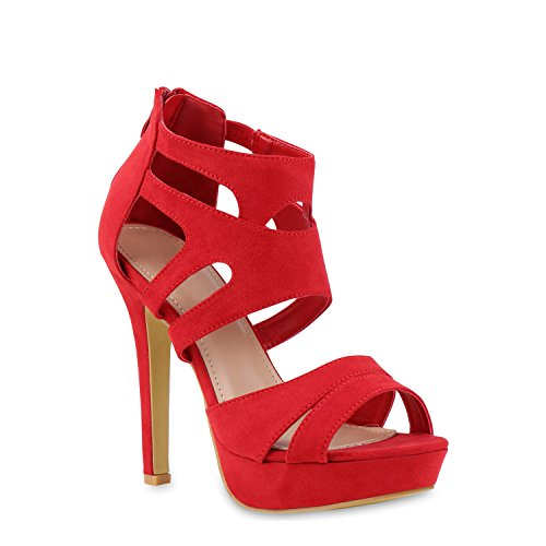stiefelparadies Damen Pumps Plateausandaletten Stilettos Cut-Outs Schuhe Sandaletten 121437 Rot 38 Flandell