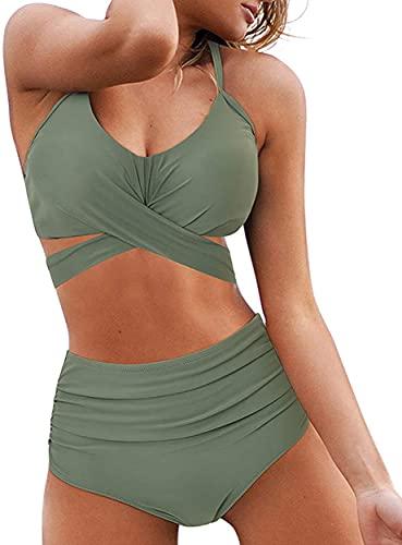 JFAN Bikini para Mujer Push Up Brasileños Bañador de Fruncido Traje de Baño de Cintura Alta Atar en la Espalda