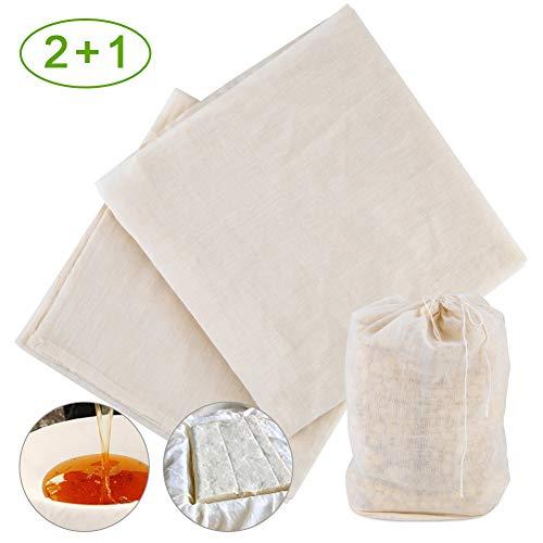 COSANSYS Filter Cloth Käsetuch Passiertuch Nussmilchbeutel 100% Baumwolle wiederverwendbar waschbar Seihtuch Filter Passiertücher (95x95cm)*2+Nussmilchbeutel (40x50cm)*1