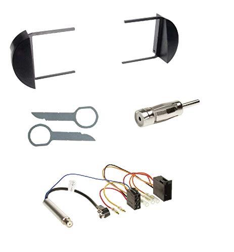 Einbauset : Autoradio 1-DIN Blende Einbaurahmen Radioblende schwarz + ISO Radio Adapter Adapterkabel mit Antennenadapter Phantomeinspeisung für VW New Beetle (9C/1Y/1C) 10/1998-07/2010