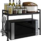 XAGB Estante de almacenamiento de cocina de doble piso tipo rack multifunción 43 * 32 * 48cm (Color : Black)