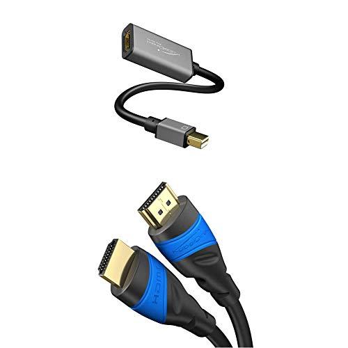 KabelDirekt – Mini DisplayPort (Mini DP) to HDMI Adapter/Converter (maximum resolution 4K/60Hz, 24k gold-plated contacts, for iMac, MacBook) PRO Series with KabelDirekt – 2m – 4K HDMI cable