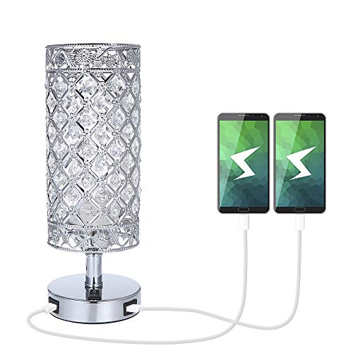 Crystal Bedside Table Lamp with Dual USB,Tomshine Modern Sliver Light E27 Glitter Lampshade with 2 USB Port Bedroom Nightstand Light for Bedroom,Living Room,Guest Room