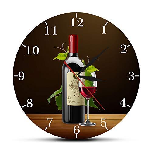 Reloj de Pared Vino Tinto y Blanco Bodega Signo de borrachera Cocina Moderna Reloj de Pared Botellas y Copas con Uvas Inicio Bar Taberna Reloj de Pared