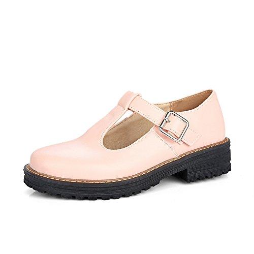 CosyFever Zapatos de Tacón Mary Jane conTira Vertical Cerrado Tira Ajustable DC43 para Mujeres Rosa - 35 EU