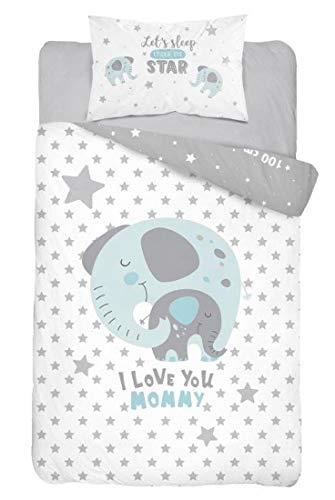 Baby Bettwäsche Set 2tlg. 100% Baumwolle Größe: 100x135 cm, 40x60 cm, ÖkoTex Standard 100 (Elefant Blau)