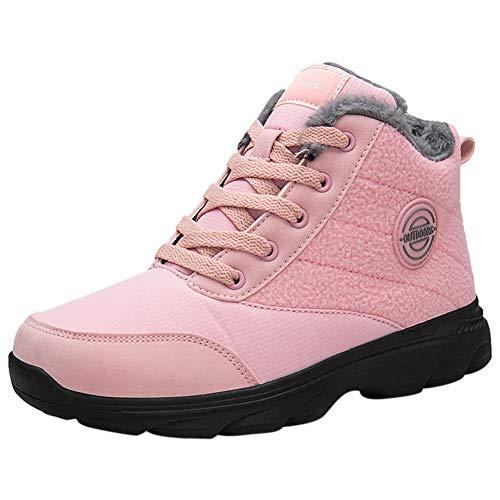 Santimon Sneakers Herren Wanderschuhe Warm Komfort Stiefeletten Lace-Up Gehen Leicht Freizeit Trekkingschuhe Pink 39.5 EU