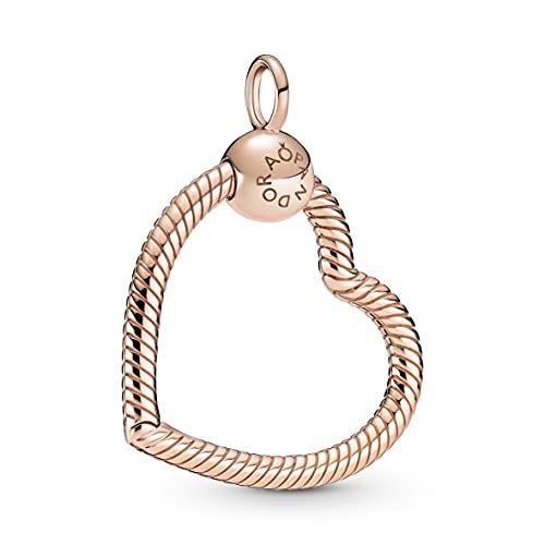 Pandora Colgante de corazón de aleación de metal chapado en oro rosa de 14 quilates, colección Pandora Moments 399505C00