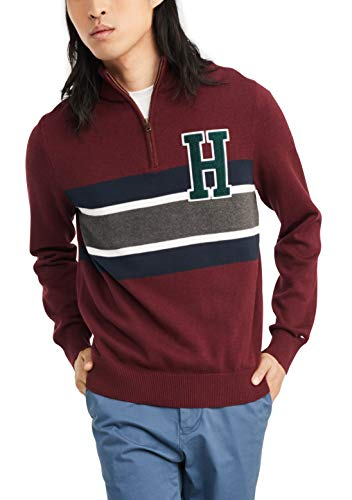 Tommy Hilfiger Men's Cotton Quarter Zip Sweater, Rhododendron Heather, Large