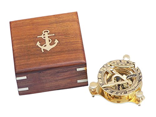 Hampton Nautical 3xglass-101 Solid Brass Captain's Triangle Sundial Compass w/Rosewood Box 3