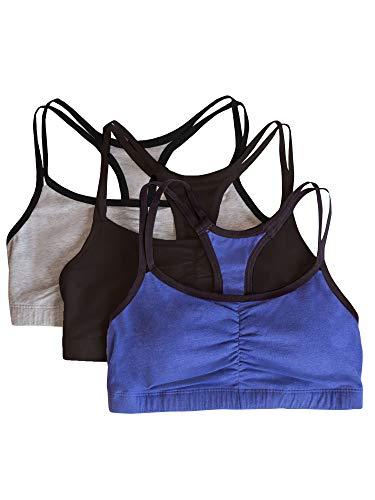 Fruit of the Loom Women's Cotton Pullover Sport Bra, Grey Navy Heather Black-3 Pack, 36