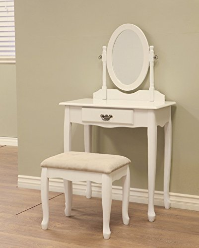 French Home Furnishing 3-Piece Vanity set –white dresser