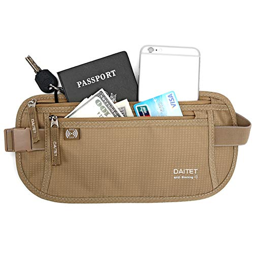 DAITET Money Belt - Passport Holder Secure Hidden Travel Wallet with RFID Blocking, Undercover Fanny Pack (Beige)