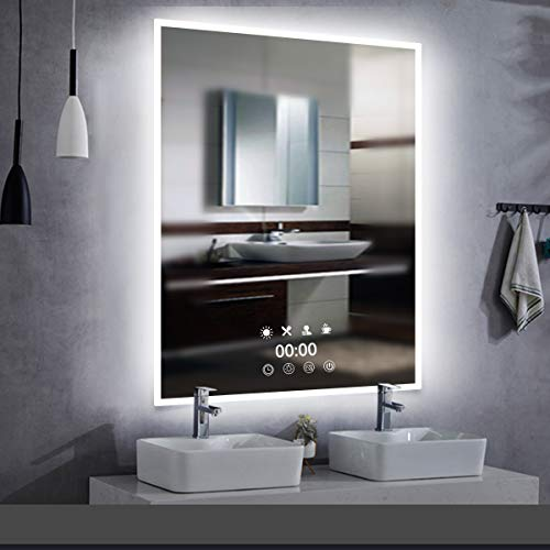 LED-Uhr Wandspiegel Badezimmerspiegel - 50x70cm LED Beleuchtung Badspiegel mit Steckdose, Touchsensor, Mehrere Beleuchtungsmodi Farbe zu Wähle Weißes/Warmweiß/Warmes Licht