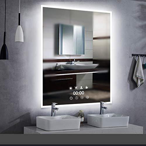 Reloj de pared con espejo LED, espejo de baño, 50 x 70 cm, iluminación LED, espejo de baño con enchufe, sensor táctil, varios modos de iluminación a elegir, luz blanca cálida/blanca cálida.