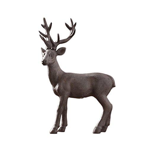 Style américain Statue Résine Cerf Modélisation Sculpture Décorations pour la Maison Ornements Bureau Étude Salon TV Cabinet Ameublement Artisanat Rollsnownow (Couleur : B)
