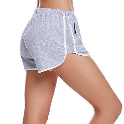 iClosam Pantaloncini Sportivi Cotone Donna, Pantaloni Pigiama Corti Confortevole e Traspirante Pantaloni per Yoga Jogging Sport Fitness Casual Sonno (Grigio,XL)