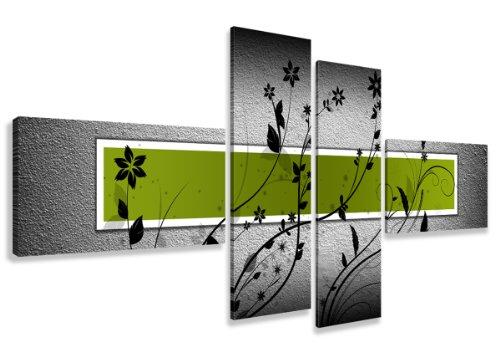 Visario Leinwandbilder 6534 Bild auf Leinwand, 160 cm fertig gerahmte Bilder, 4 Teile, grün
