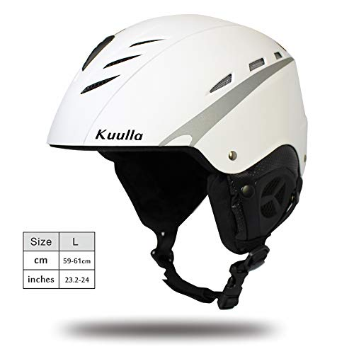 Kuulla GIORO Multi Snow Sports Helmet  Unisex Adult  Lightweight Outdoor Skiing Snowboard Helmet with Fleece Liner and Carrying Pouch for Men Women amp Youth  Large: White