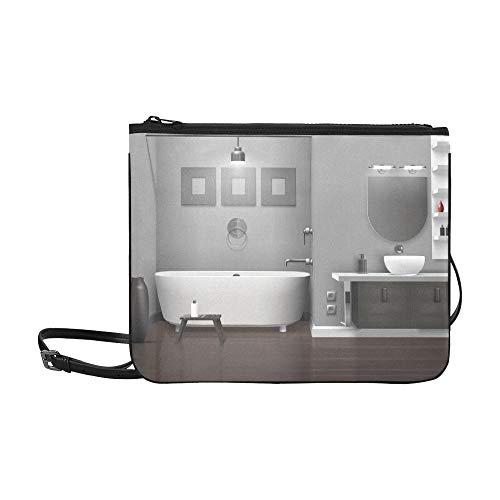 WYYWCY Realistische Badezimmer Interieur Weiße Badewanne Waschbecken Benutzerdefinierte hochwertige Nylon Slim Clutch Cross Body Bag Umhängetasche