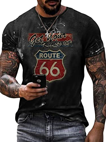 Tomwell Herren Racing Team T-Shirt Kurzarm Retro Printed Biker Motorrad Regular Slim Fit Stil D 3XL