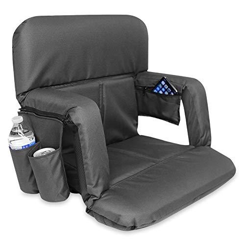 KHOMO GEAR Stadiumsitz für die Bank oder die Tribüne mit gepolsterter Rücken, Armlehne und Trägern - Schwarz