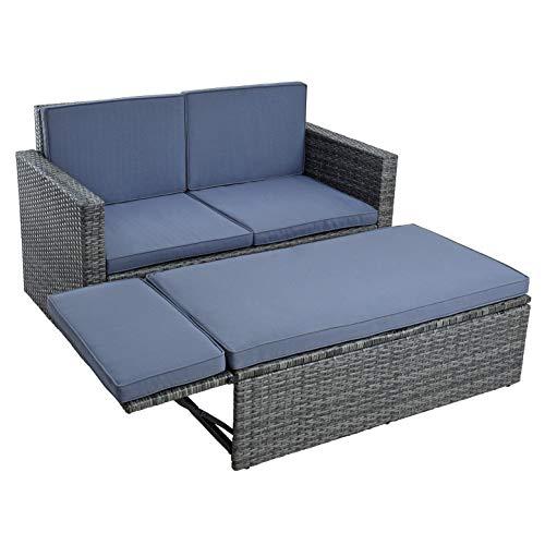 ESTEXO Polyrattan Sitzgruppe Essgruppe Gartenmöbel Set Gartensofa Rattan Sofa mit Hocker ausklappbar Sofa-Set Rattan-Couch Sitzgruppe Lounge Set Ottomane (Anthrazit-Grau)