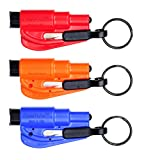 RESQME Original Keychain Car Escape Tool (Red/Orange/Blue) - Pack of 3
