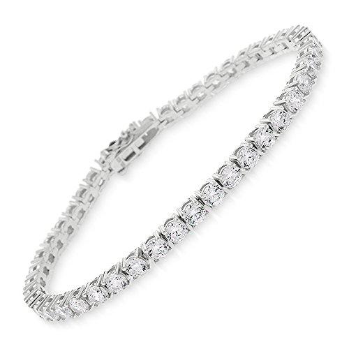 Sterling Silver 3.5mm Brilliant-Cut Clear Round CZ White Tennis Bracelet 6.5