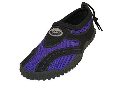 The Wave Childrens Kids Wave Water Shoes Pool Beach Aqua Socks, Purple, 7M US Toddler