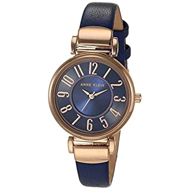 Anne Klein Women's Easy-to-Read Leather Strap Watch, AK/2156