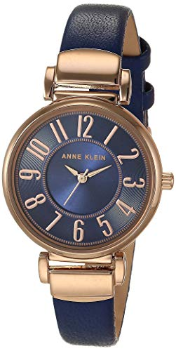 Anne Klein Women's Easy-to-Read Navy Leather Strap Watch, AK/2156NVRG