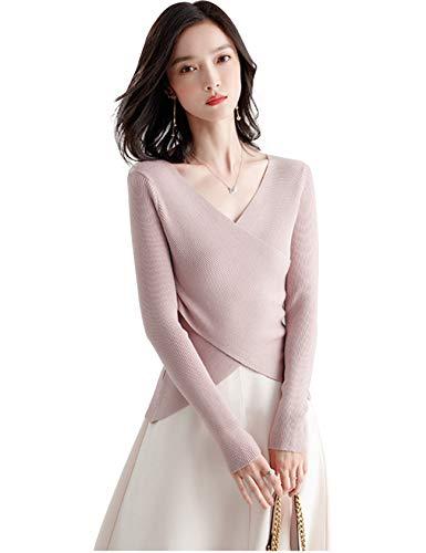 Jueshanzj Damen Flauschige Rippenpullover Hautfreundlich Einfarbig Freizeit Pullover Slim Rosa M