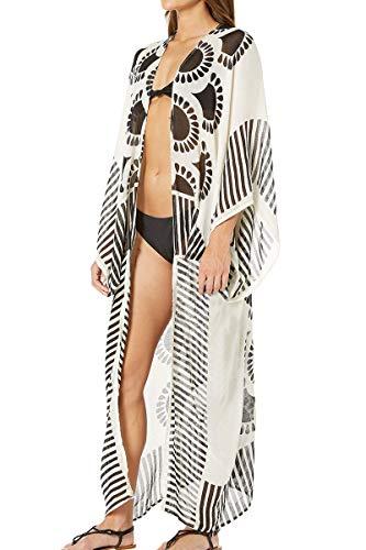 AiJump Gasa de Boho Kimono vestido de la playa del verano maxi Bikini Cover Up Beach Wear Tops para Mujer Talla nica Blanco, Blanco