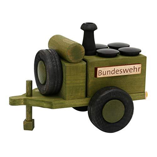 Dekohelden24 Holz Räucherfigur Gulaschkanone - Bundeswehr - in grün/schwarz, L/B/H: 18 x 11,5 x 13 cm.