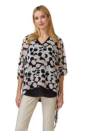 Joseph Ribkoff Damen Bluse mit Zipfelsaum Größe 48 EU Schwarz (schwarz/weiß)