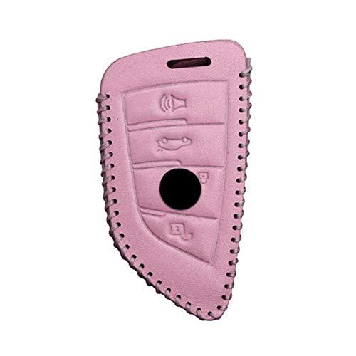 Funda de piel para llave de coche BMW X1 X3 X4 X5 X6 F15 F48 540 740 1 2 5 7 Series 218i Protección Key Shell Skin Bag Solo caso (3 botones rosa)