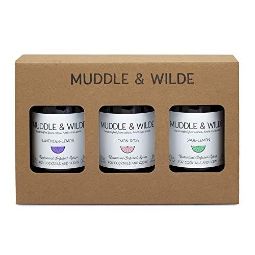 Muddle & Wilde Botanical Infused Cocktail & Soda Syrup Bubbly Gift Box | Sage-Lemon, Lemon-Rose, Lavender-Lemon | 8 fl oz Bottles (Pack of 3)
