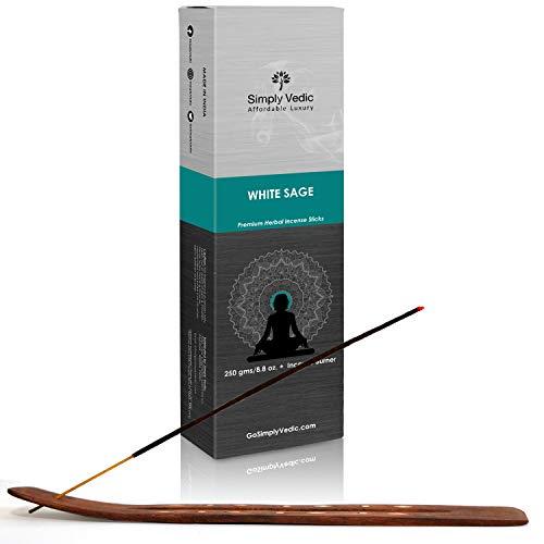 Simply Vedic Weißer Salbei Premium Räucherstäbchen Weihrauch 250 Gramm (ca. 135 Sticks) mit Brenner für Meditation, Aromatherapie-Energiereinigung