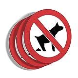 imaggge.com - Lote de 3 paneles rígidos para prohibición de caca de perro, redondos, 15 cm de grosor, 3 mm de grosor, aluminio y compuesto