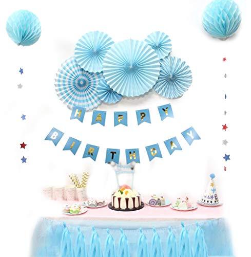 SUNBEAUTY Decoration Anniversaire Garcon Bleu Happy Birthday avec Rosace Papier Banderole Tassel Guirlande Kit Anniversaire Garçon
