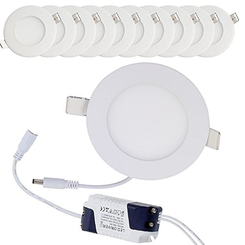 10x3W Downlight Led Empotrable en Techo Panel Downlight LED redondo plano LED Downlight focos led empotrables Panel led (3W Blanco Frío)