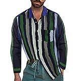 Camisa de Manga Larga Moda de Hombres Blusa Raya Casual Impresión Sabana de Algodon Tops