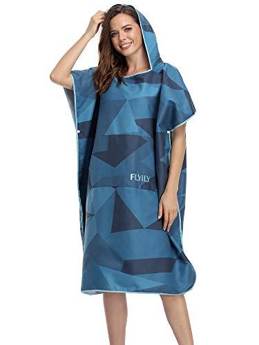 FLYILY Toalla cambiante Poncho con capucha ligero de microfibra para surf que cambia con bolsillo, toalla de playa para adultos/niños (NavyGeometry, grande (apto para adultos))