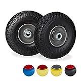 Relaxdays 2X Ruedas de Carretilla, Neumáticos de Goma, 3.00-4, Eje de 20mm, hasta 100 kg, 260x85 mm, Negro y Gris