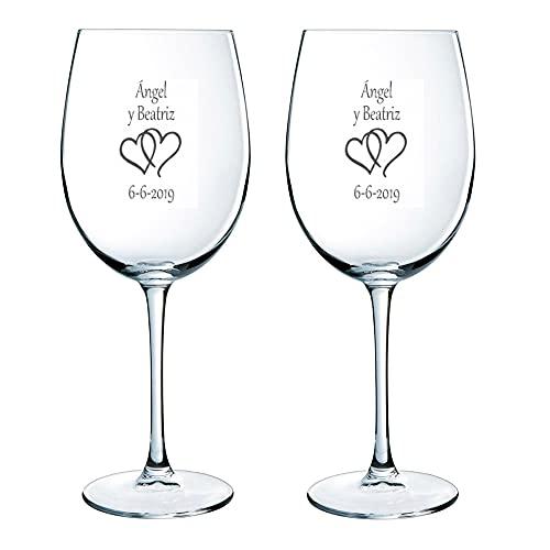 Regalo para Parejas Personalizable: Copas de Vino grabadas con los Nombres, Fechas o Mensajes Que tú Quieras y un Motivo a Elegir (Copas de Vino para Parejas)