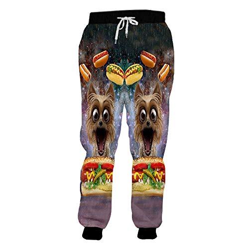LYLLXL Pantalon De Survêtement Imprimé en 3D,Pantalon De Jogging Unisexe 3D Ciel Étoilé Hot Dog Pantalon Graphique Poches Pantalon De Survêtement De Formation De Cordon pour L'Entraînement Extérieur