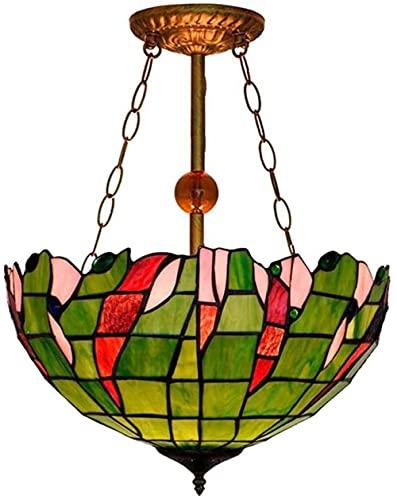 Lampadario a sospensione in stile Tiffany Lampadario vintage in vetro colorato con paralume da incasso Lampadario per soggiorno, camera da letto, luci-L