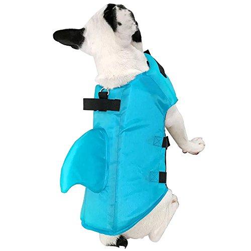 shanzhizui Schwimmender Haifisch-Badeanzug des Hundes Haustier Badeanzug Schwimmweste Große Hundeweste Corgi Goldener Apportierhund Labrador, Blue, XS